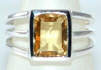 Emerald Cut Citrine Solitaire Ring 925 Sterling Silver Rings Sizes N 6½ to Z5 15