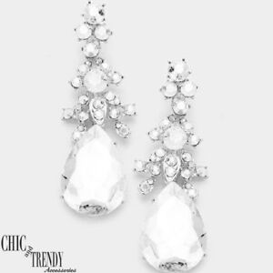 CHANDELIER CLEAR GLASS CRYSTAL EARRINGS PROM FORMAL CHUNKY JEWELRY CHIC & TRENDY