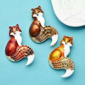 Adorable Cute Fox In Different Colors BROOCH PIN PENDANT Rhinestone Enamel