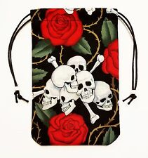 "Skulls & Roses Tarot Bag 5""x7"" Drawstring Pouch for Runes Crystals Dice"