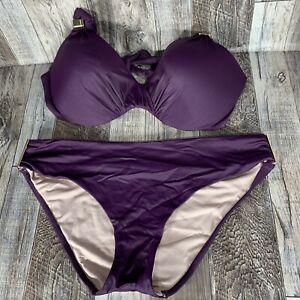 Victorias Secret Purple Bikini Swimsuit Set Top 36 D Bottom Hipster Size Large