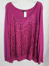 Oleg Cassini Sport Womens 1X Cotton/Rayon Pink Sequined Tee Blouse NWT
