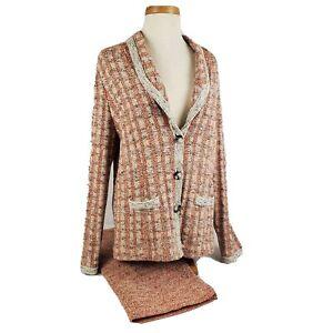Pendleton Womens Two Piece Cotton Silk Blend Knit Skirt Suit Medium Beige Copper