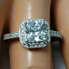 .925 Sterling Silver ring size 5 CZ Engagement Wedding Princess Cut Halo New v35