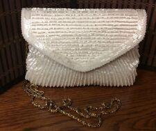 La Regale LTD  beaded evening handbag cream ivory envelope style shoulder H5