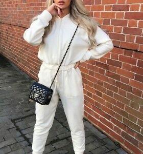 Zara Women's Soft Feel Jumpsuit With Hood Cream Sz L