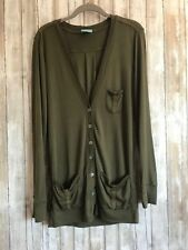 C&C California Olive Green Button Down Cardigan Top S Small * CLASSIC!