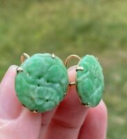 ANTIQUE ART DECO CARVED JADEITE JADE  14K GOLD SCREW BACK EARRINGS  18 mm