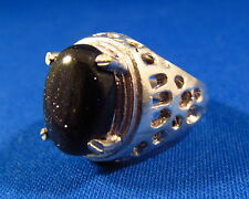 Spectacular Blue Goldstone / Sun Sitara Silver Plated Ring Size 6.75  GOLR27
