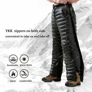 Winter Side Zip White Goose Down Pants Men Women Compression Snow Ski Trousers