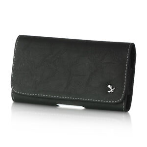 Black Genuine Leather Case Clip Luxmo Horizontal Pouch Samsung Galaxy Amp Prime