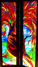 'RED CEDAR TREE' Australian Stained Glass Leadlight ART FRENCH DOORS CUSTOM MADE