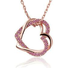 Crystal Love Silver/Gold Plated Necklace Chain Heart Pendant