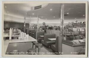 1950 Luncheonette Madison Drugs Sarasota Florida Real Photo Postcards RPPC