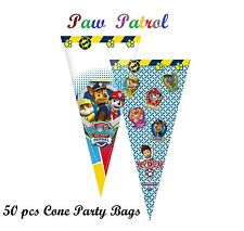 50 x CONE PARTY BAGS Kids Birthday Sweet Loot Filler Toys PAW PATROL BLUE COLOUR