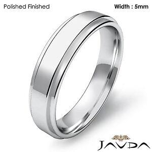 Flat Step Solid Ring Men's Wedding Plain Band 5mm 18k White Gold 7.2g 12-12.75