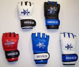 NEW!  Warrior-One MMA Gloves - Red Black Blue White - Mixed Martial Arts UFC