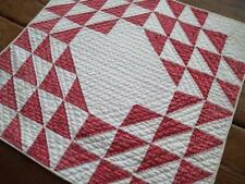 Excellent Quilting! Antique Prim Farmhouse RED & White Table or Doll QUILT 22x21