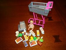 Talking Grocery Cart Barbie Doll Midge Nickki Happy Family Baby Food Lot Store