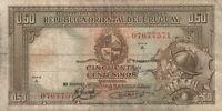 Vintage Uruguay Banknote 1935 50 Centesimos Pick 27b(2) Three Signatures Rare