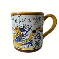 DERUTA DIPINTO CERAMICA Italian Pottery Coffee Mug Cup Dragon Malvarina? ITALY