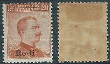 1917 EGEO RODI EFFIGIE 20 CENT MH * - W109
