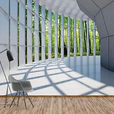 Fototapete Vlies Wald Bäume 3D Fensterblick - XXL Wohnzimmer Tapete (10057V8)
