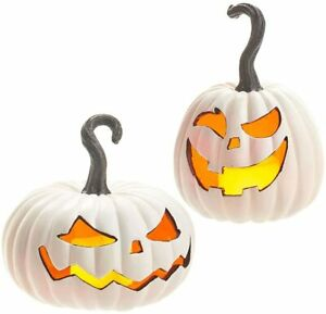 "Happy Haunting 11"" Lighted Gourd Jack O'Lantern, Set of 2"