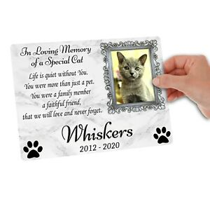 Large Memorial Metal Plaque for a Cat. Personalised with photo. Garden, Grave