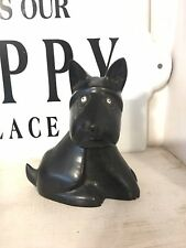 Scottish Terrier African Blackwood With Old Glass Bead Eyes Carved Scottie  Dog