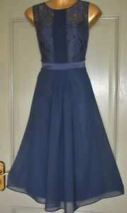 COAST NAVY BLUE LACE EVENING PARTY WEDDING FORMAL OCCASION DRESS SIZE 14