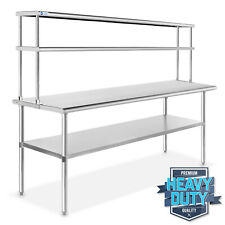 "Stainless Steel Commercial Kitchen Prep Table with Double Overshelf- 30"" x 72"""