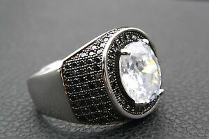 Zirconia Silver Ring Biker Rhinestone 925 Real /023