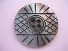 "Vintage Medium 1-3/16th"" Smokey Mother Of Pearl MOP Shell Sew Thru Button P166"