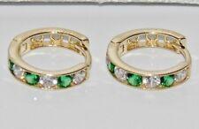 9ct Gold Smaragd Huggie/Manschette Hoop Ohrringe