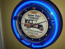 Yellow Taxi Cab Station Driver Garage Blue Neon Advertising Wall Clock Sign2
