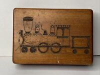 "Vintage Wood Hinged Trinket Box 5 3/4"" x 4""Etched Train Design Keepsake Box"