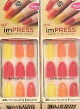 Lot of 2, Kiss Impress Press-On Manicure, Ten Different Looks