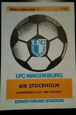 Top! programma QUADERNO 1.fc Magdeburg AIK STOCKHOLM IFC Cup 1984 DDR Sverige DFV FCM