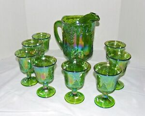 Indiana Harvest Grape Green Carnival Glass Iridescent Pitcher & 8 Glasses