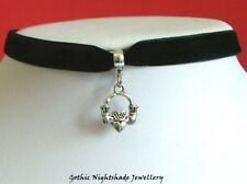 Claddagh Ring Necklace, Black Velvet Gothic Pagan Wicca Choker, Handmade