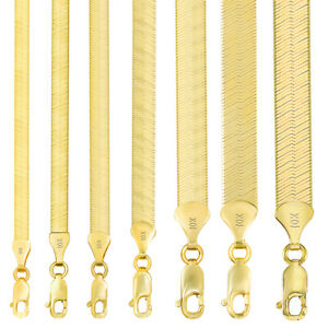 10K Yellow Gold Solid 3mm-9mm High Polish Silk Herringbone Chain Necklace 16-30""