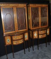 Pair Sheraton Display Cabinets Painted  Regency Satinwood Bookcase