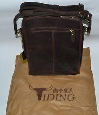 Tiding Dark Brown Leather Cross Shoulder Messenger Tablet Bag