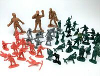 Vintage 47 Lot Plastic Green Toy Soldiers Army Men Toy Models Play War