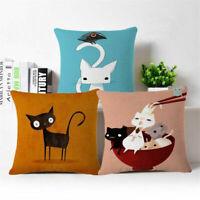 """Lovely cat Linen Cotton Throw Pillow Case Cushion Cover Home Sofa Decor 18"""""""