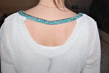 top bijoux dos ouvert Pull Blanc COP COPINE Gansé Chaîne bleu turquoise Haut 3/M