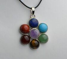 7 Chakra Gemstones Flower Reiki Energy Healing Pendant & Necklace UK