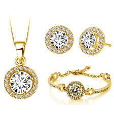 Yellow Gold Jewellery Set White Diamante Stud Earrings Necklace, Bracelet S673