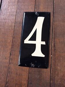 Vintage Original Black Aluminum Tin  '4' FOUR ADDRESS NUMBER ~ House Home (1)